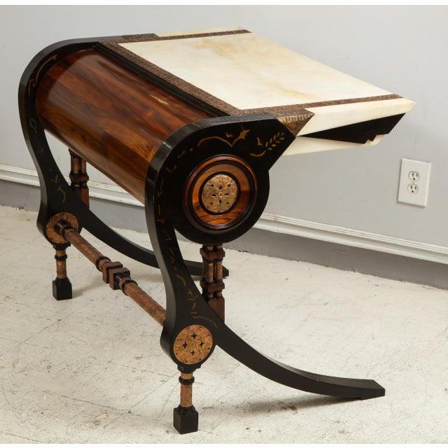 Carlo Bugatti-style writing desk with chair Dimensions for desk are H 29.5 x W 38.5 x D 27.5 Chair H 39 x seat Height 17x...