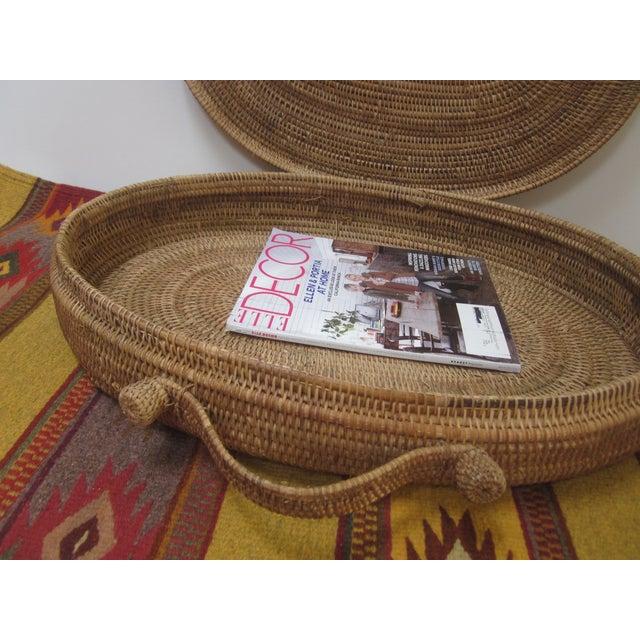 Brown Large Oversized Vintage Oval Lidded Woven Storage Basket For Sale - Image 8 of 8