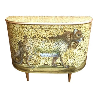 """Fornasetti """"Leopard"""" Style Mid Century Dry Bar For Sale"""