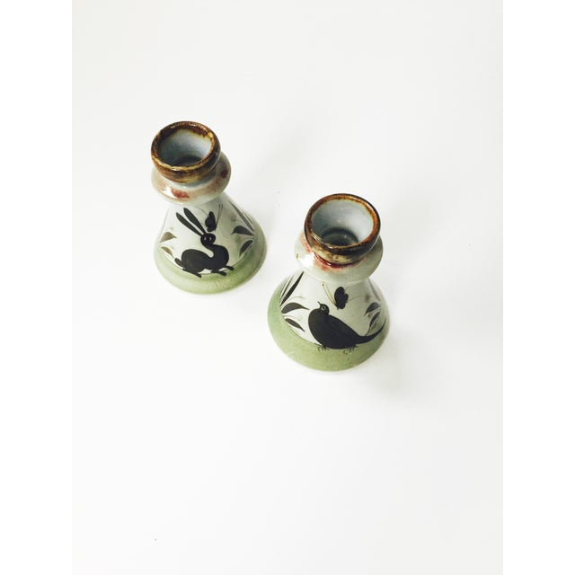 Vintage Mexican Pottery Candle Holders - Set of 2 - Image 4 of 5