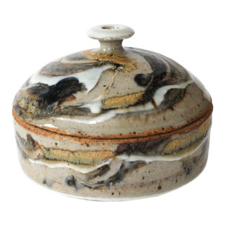 Lidded Studio Art Glaze Pottery Trinket Container For Sale