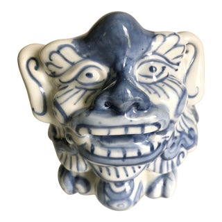 Vintage 1960s Blue and White Foo Dog For Sale