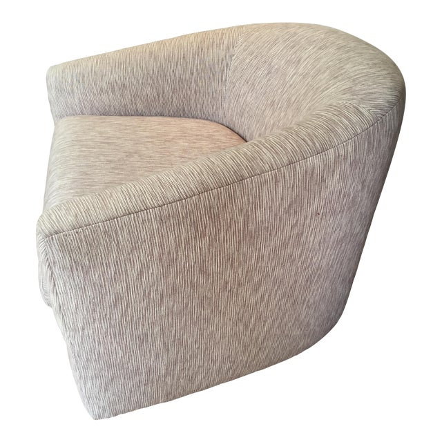 Reupholstered Milo Baughman Swivel Chair - Image 1 of 6