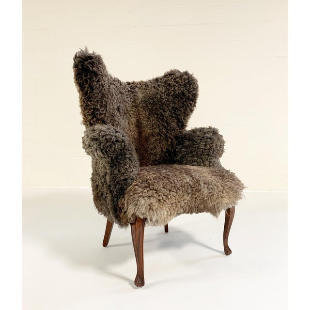 Boho Chic Vintage Nick Cave Wingback Armchair Restored in California Sheepskin For Sale - Image 3 of 11