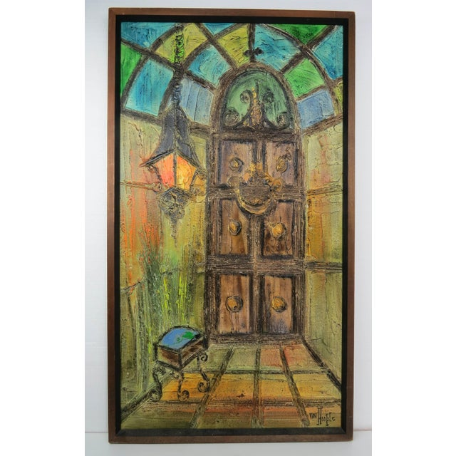 Original Mid-Century Gothic Painting on Board by Van Hoople For Sale - Image 13 of 13