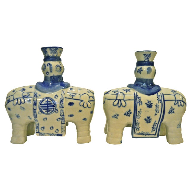 Blue & White Elephant Candleholders - A Pair - Image 5 of 6
