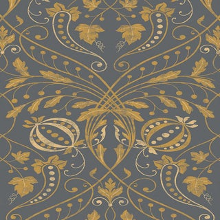 "Lewis & Wood Chateau Tortoisehell Extra Wide 52"" Damask Style Wallpaper Sample For Sale"
