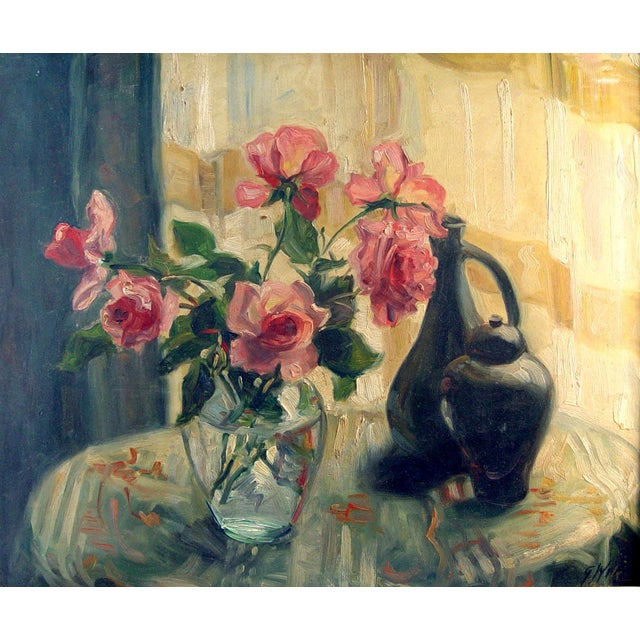 Sunny Window & Pink Roses Painting For Sale - Image 4 of 4