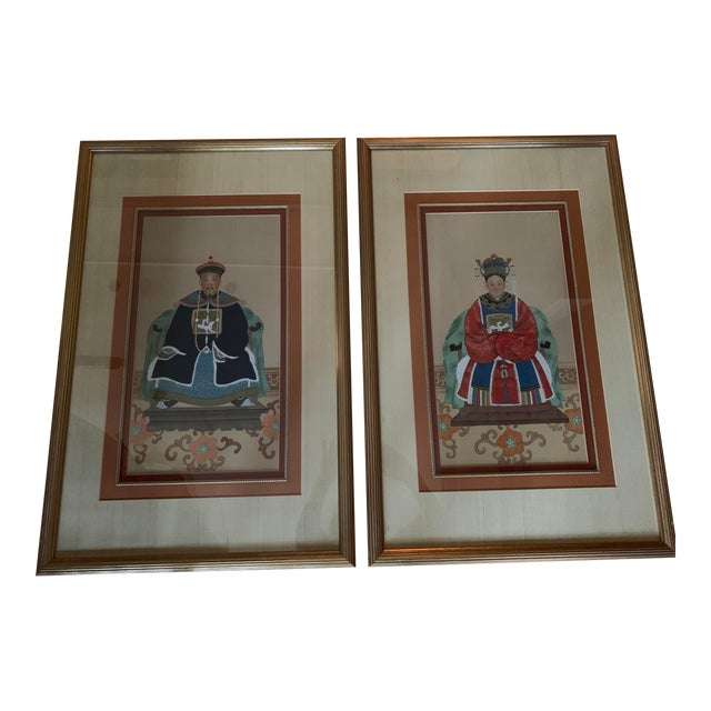 Chinese Ancestral Portraits Early 20th Century Paintings on Paper - a Pair For Sale