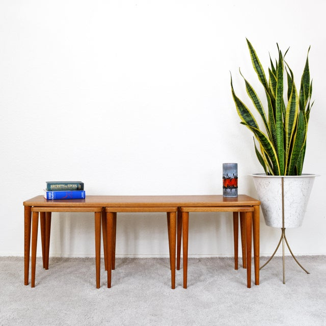 Mid-Century Modern Dux of Sweden 1960s Teak Coffee Table With Three Nesting Tables - 4 Pieces For Sale - Image 3 of 13