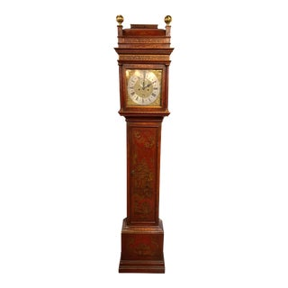 19th Century English Red Lacquered Chinoiserie Tall Case Clock For Sale
