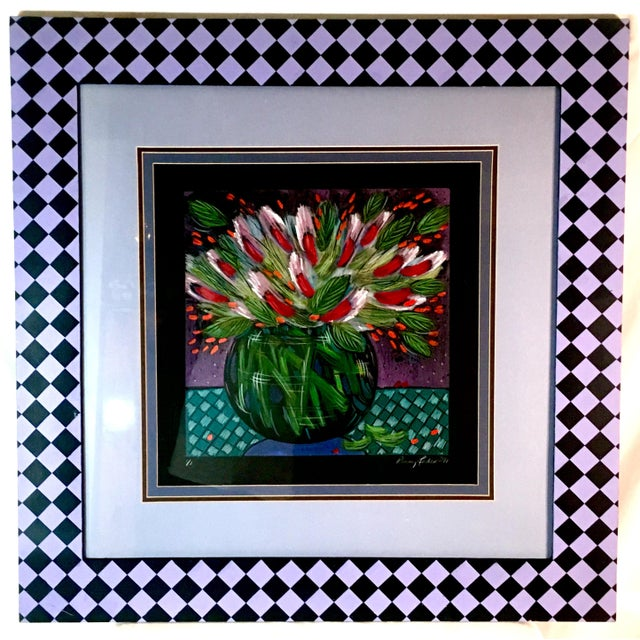 1991 Original Penny Feder Expressionist Floral Monotype Painting- Vintage/Signed For Sale - Image 13 of 13