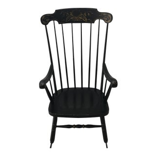 Vintage Black Tole Painting Rocking Chair