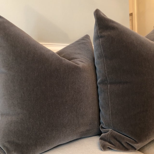 "Mink Brown Mohair Pillows - 22"" x 22"" - A Pair - Image 4 of 5"
