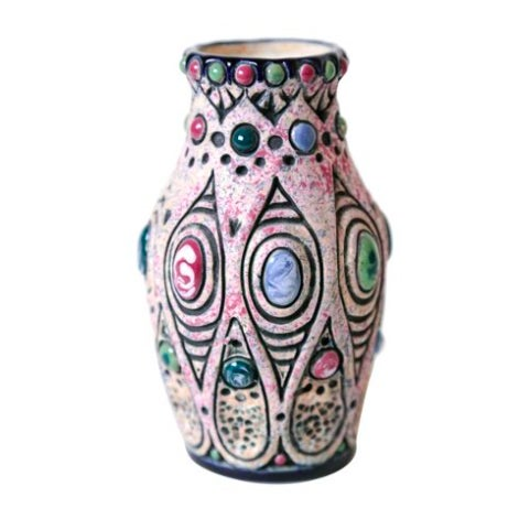 """An Art Nouveau pottery vase in matte glaze with high gloss oval and round jewels. Marked """"Amphora"""" and """"Made in..."""
