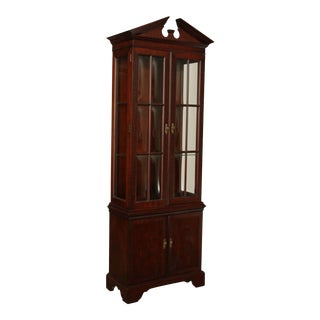 Chippendale Style Mahogany Narrow Curio Display Cabinet For Sale