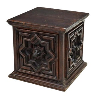 19th Century Italian Baroque Geometric Carved Pine Antique Cabinet - Side Table, Stand For Sale