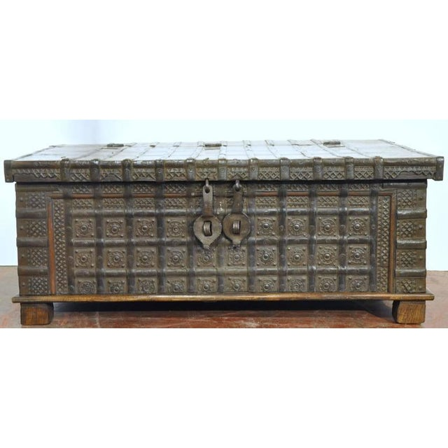 English Carved Chestnut Trunk Coffee Table - Image 2 of 9