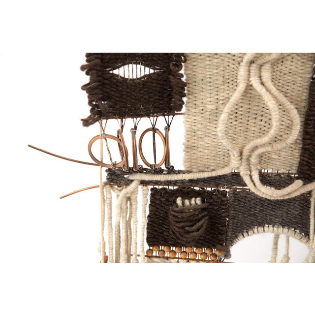 Mid-Century Modern 1970s Woven Fiber Art Wall Hanging For Sale - Image 3 of 6