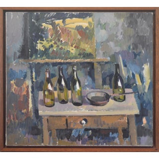 """Still Life Bottles"" (After Cezanne) by John Anderson, Oil on Canvas For Sale"