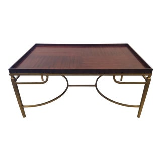 Henredon Modern Wood and Gold Cocktail Table For Sale