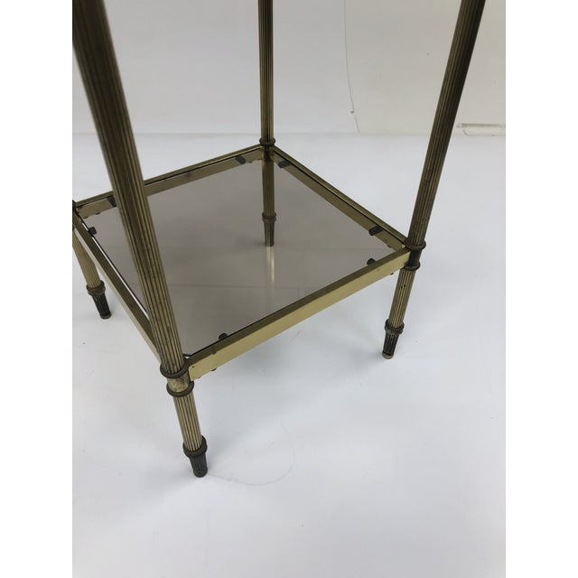 1980s Mid Century Brass Two Tier Glass Side Table For Sale - Image 5 of 13