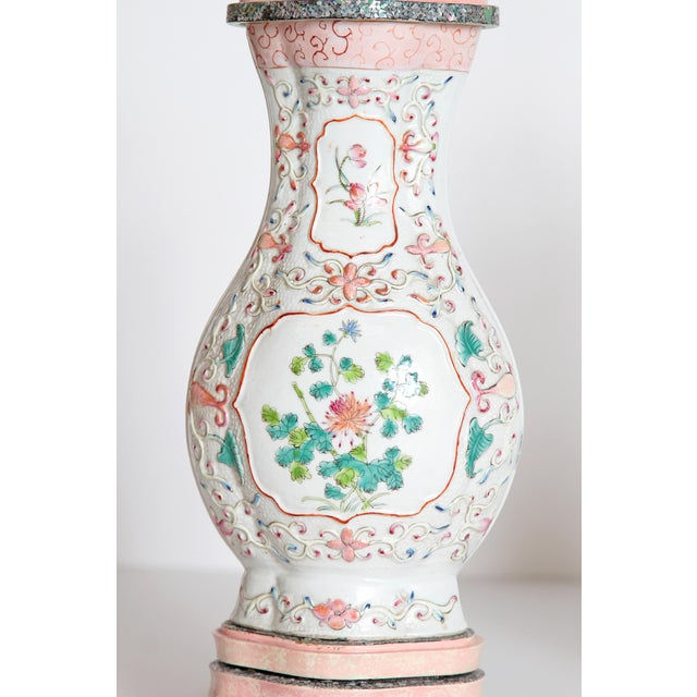 Ceramic Pair of Late 18th Century Chinese Porcelain Vases as Lamps For Sale - Image 7 of 13