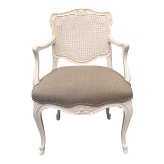 White Lacquered Wicker-Back Chair For Sale