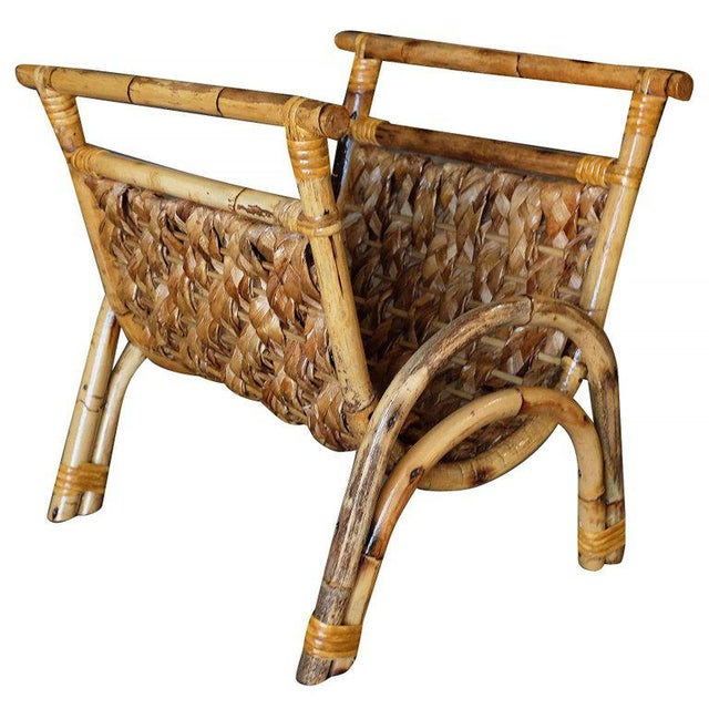 Restored Woven Wicker & Rattan Magazine Rack For Sale - Image 4 of 6