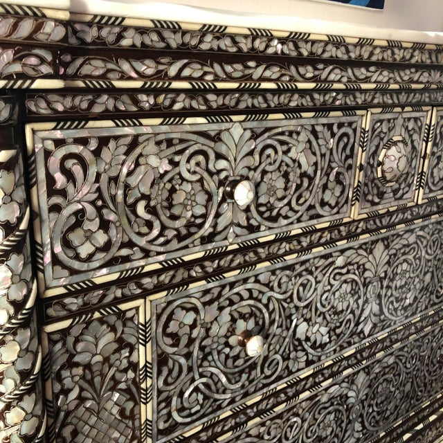 Marble Moorish Syrian Mother of Pearl Inlay Chest With Drawers For Sale - Image 7 of 11