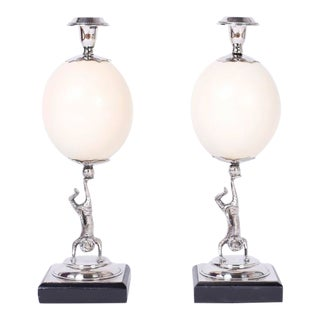 Mid Century Figural Ostrich Egg Candlesticks - a Pair For Sale
