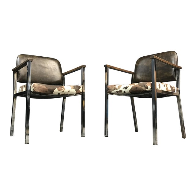 Mid-Century Faux Cowhide Chairs - A Pair - Image 1 of 8