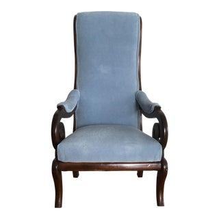 1950s Vintage Pale Blue Suede Wooden Armchair For Sale