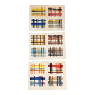 Gallery Wall Collection 3 Original Watercolor Plaid Color Studies For Sale