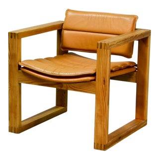 Mid-Century Dutch Design Cognac Leather Cubic Pinewood Armchair, 1970s