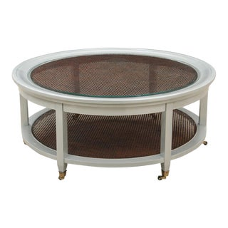 Neoclassical Round Caned Coffee Table