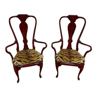 "Phyllis Morris Red Tortoiseshell ""Hollywood"" Queen Anne Style Arm Chairs - a Pair For Sale"