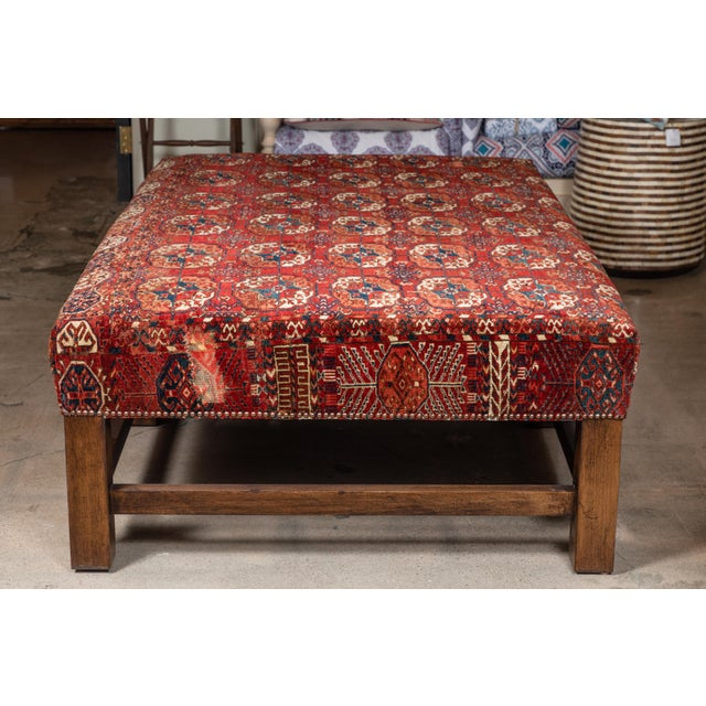 Large Scale Ottoman Upholstered With a Vintage Rug Textile For Sale - Image 10 of 13