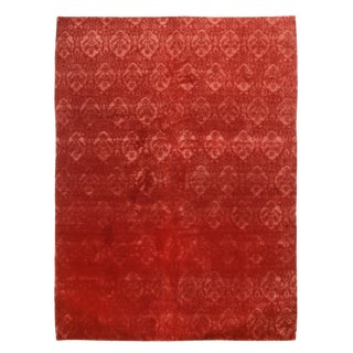Contemporary Medici Geometric Red Wool and Silk Rug For Sale