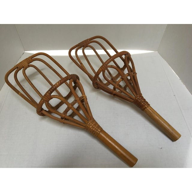 Rattan scoops were used for a backyard version of Jai Alai or ball toss. In excellent condition!