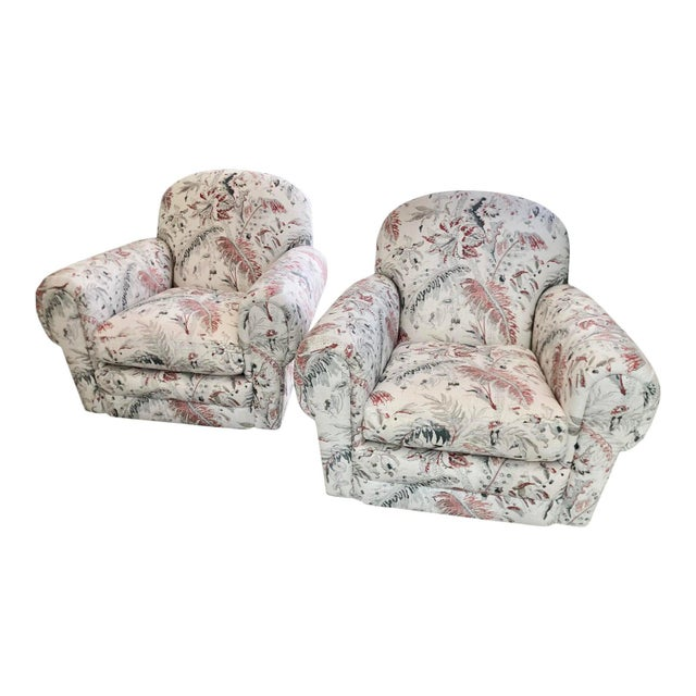 2000 - 2009 Brunschwig & Fils Jacobean Linen Upholstery Swivel Club Chairs - a Pair For Sale - Image 5 of 5