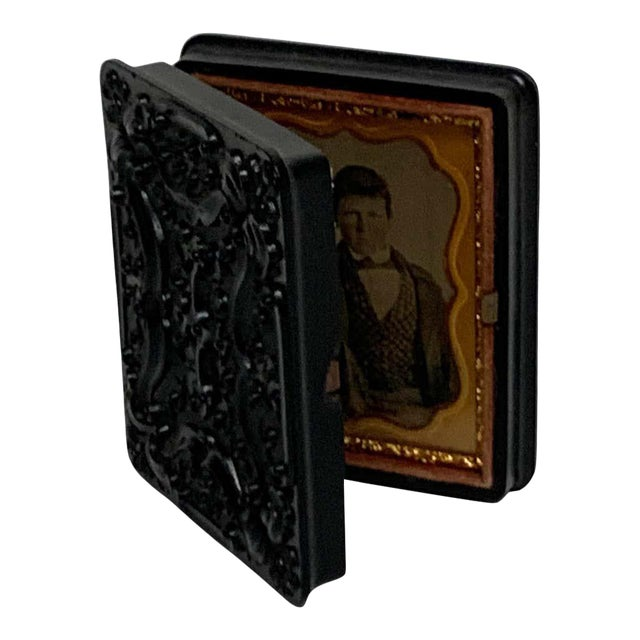 19th Century Ambrotype of a Young Male Student/ Writer, Gutta Percha Case For Sale