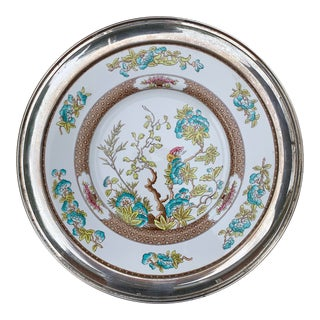 Shreve & Co San Francisco Sterling Rimmed Spode 'India Tree' China Charger Plate For Sale