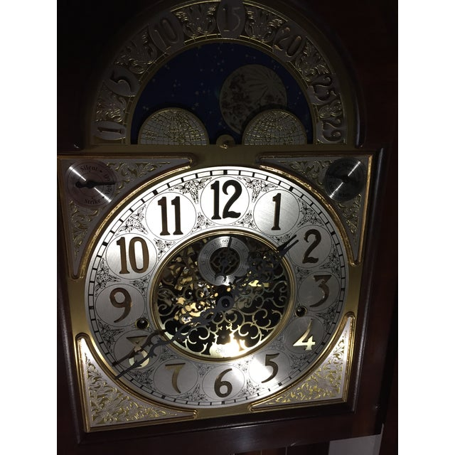 Brass Sligh Grandfather Clock For Sale - Image 7 of 11