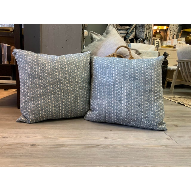 Blue Blue & Cream Diamond Pattern Linen Pillows- a Pair For Sale - Image 8 of 8