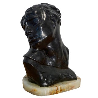 """1970s Figurative Bronze Sculpture Bust """"Head of Lust"""" by A.Rodin For Sale"""