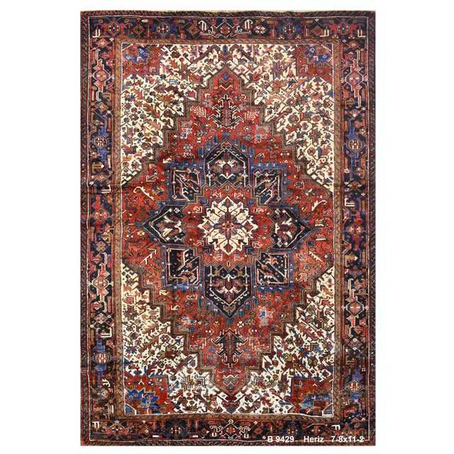 Vintage Persian Heriz Rug - 7'8''x11'2'' For Sale