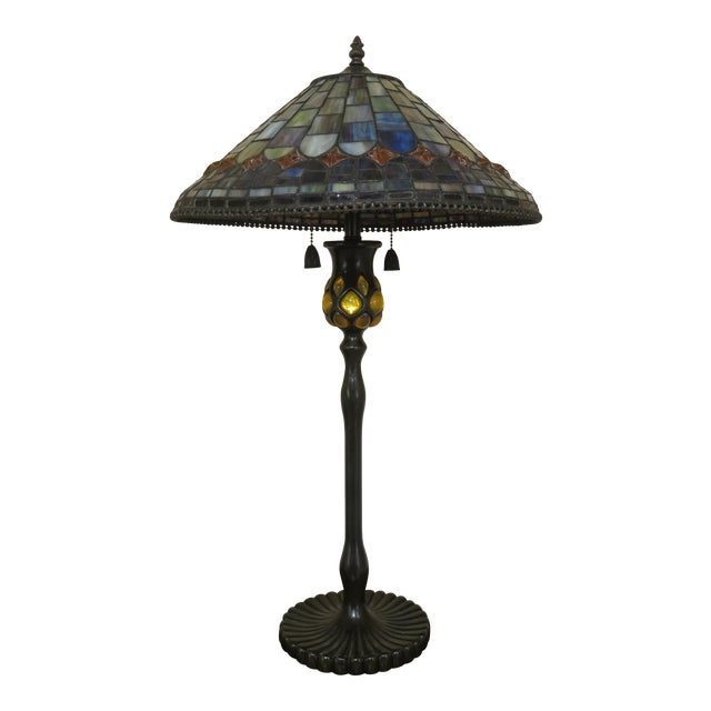 Quoizel Arts & Crafts Stained Glass Lamp For Sale
