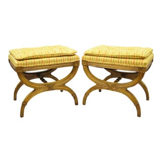 Karges X Frame French Neoclassical Regency Style Curule Stools Benches - a Pair For Sale
