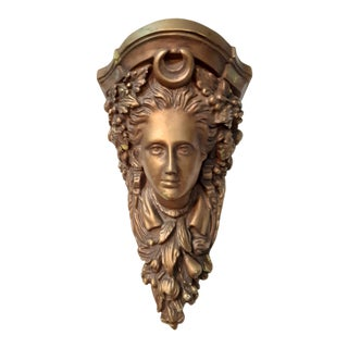 Victorian Style Face Gold Wall Bracket Shelf For Sale